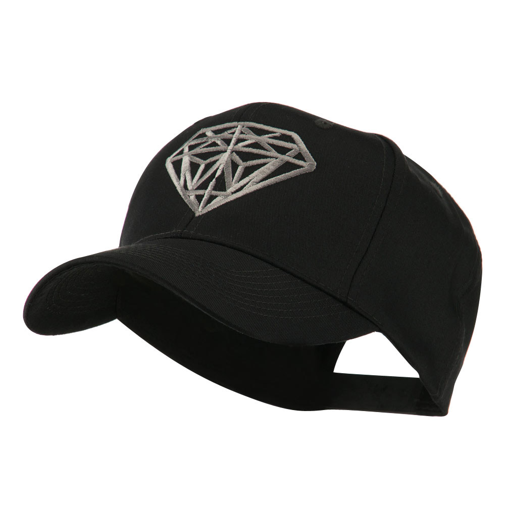 Diamond Outline Embroidered Cap - Black - Hats and Caps Online Shop - Hip Head Gear