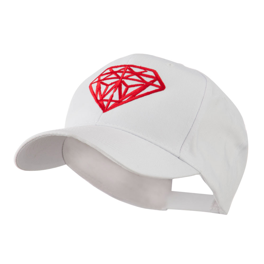 Diamond Outline Embroidered Cap - White - Hats and Caps Online Shop - Hip Head Gear