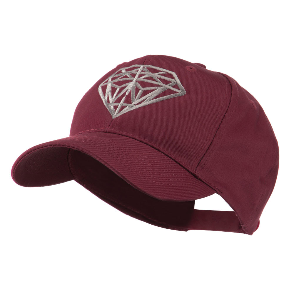 Diamond Outline Embroidered Cap - Maroon - Hats and Caps Online Shop - Hip Head Gear
