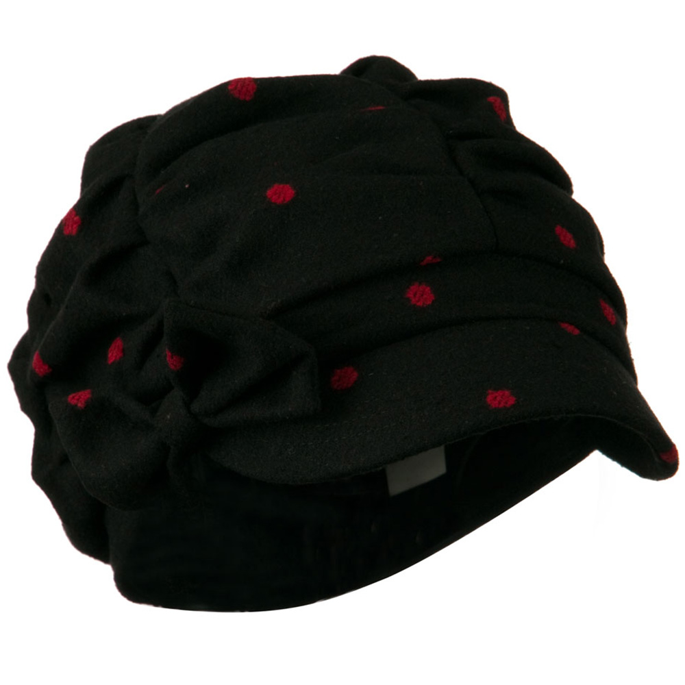 Dagny Polka Dot Newsboy Hat - Black Red - Hats and Caps Online Shop - Hip Head Gear