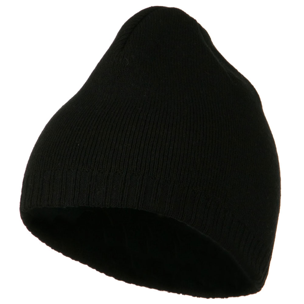 Decorative Ribbed Short Beanie - Black - Hats and Caps Online Shop - Hip Head Gear