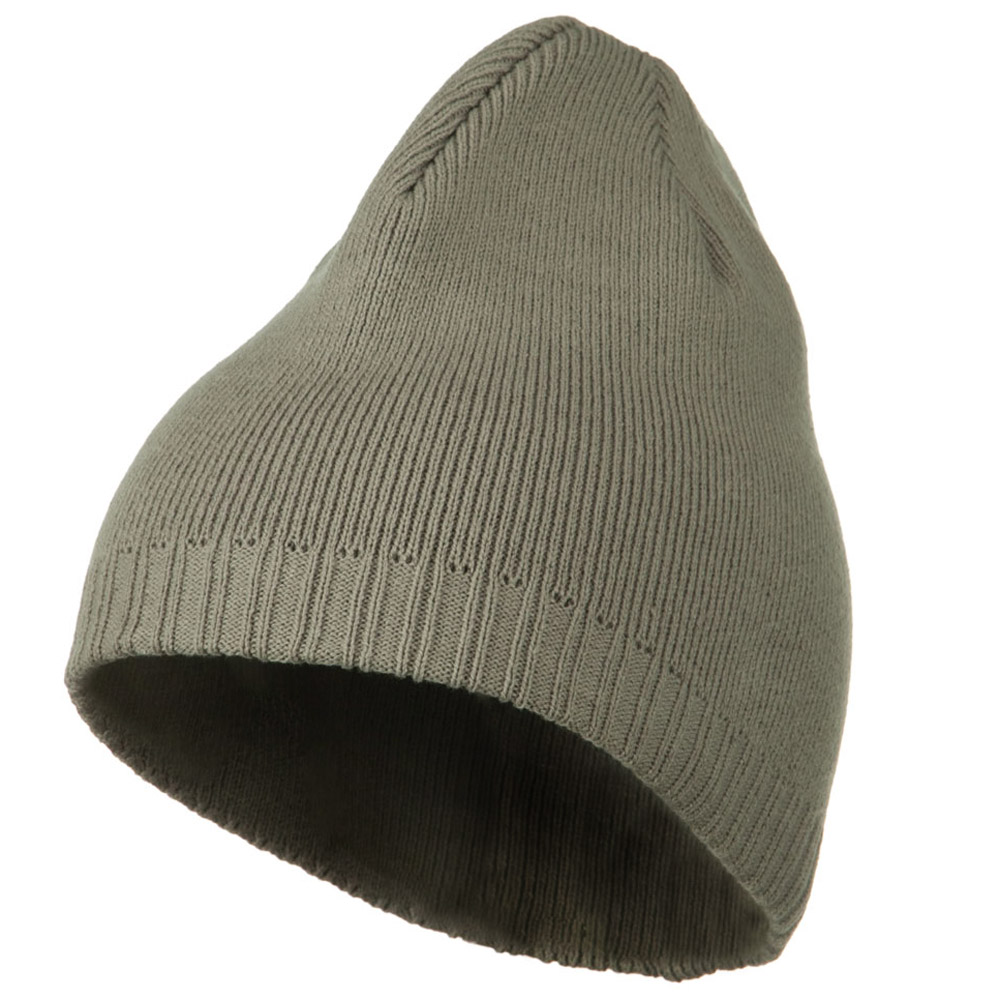 Decorative Ribbed Short Beanie - Light Grey - Hats and Caps Online Shop - Hip Head Gear