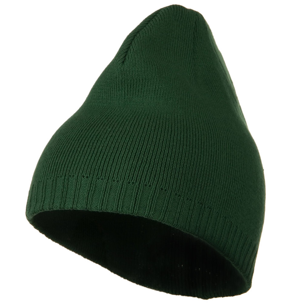 Decorative Ribbed Short Beanie - Dark Green - Hats and Caps Online Shop - Hip Head Gear