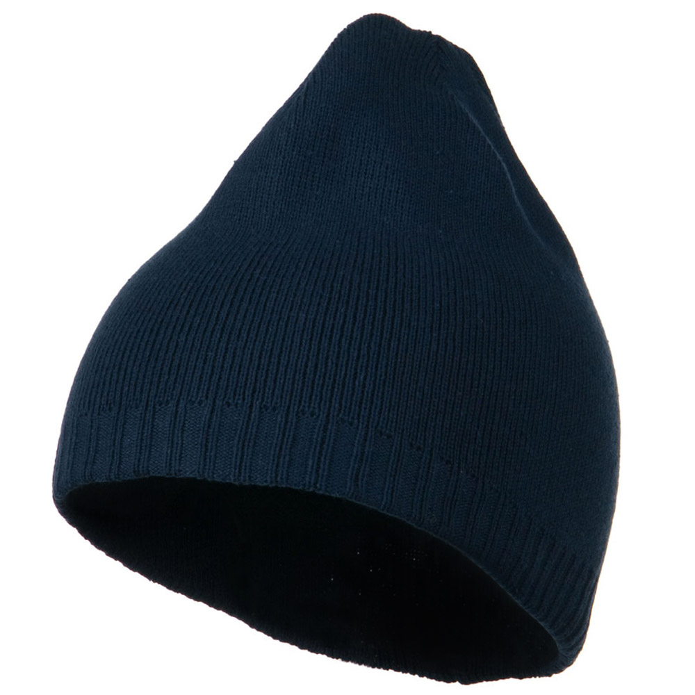 Decorative Ribbed Short Beanie - Navy - Hats and Caps Online Shop - Hip Head Gear