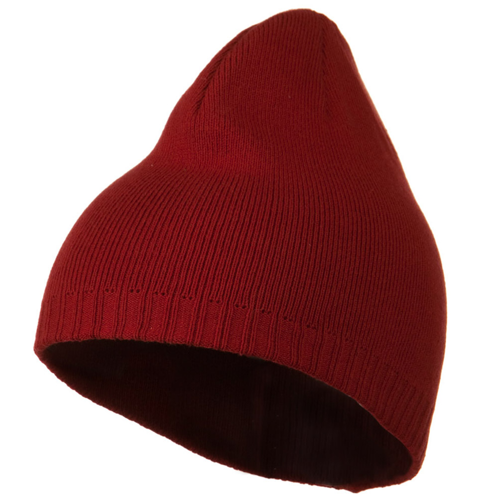Decorative Ribbed Short Beanie - Cardinal - Hats and Caps Online Shop - Hip Head Gear