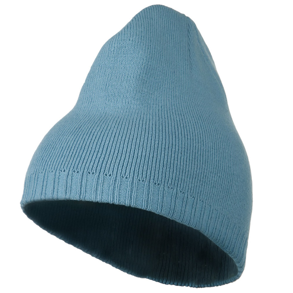 Decorative Ribbed Short Beanie - Blue - Hats and Caps Online Shop - Hip Head Gear