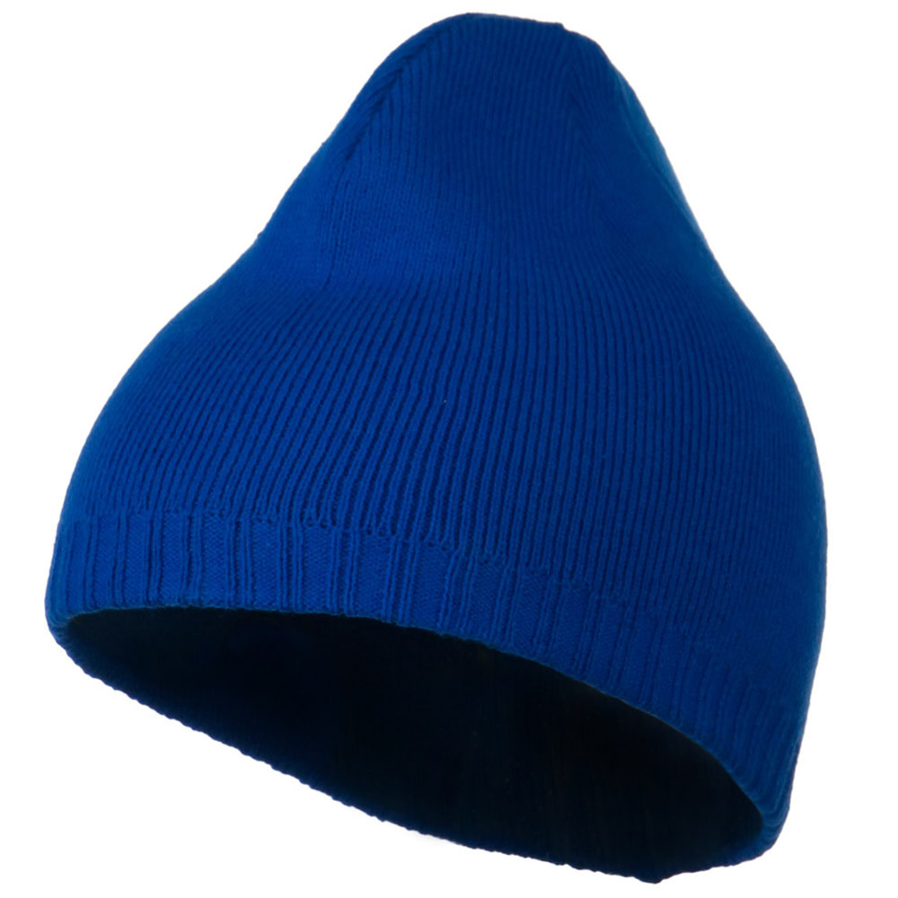 Decorative Ribbed Short Beanie - Royal - Hats and Caps Online Shop - Hip Head Gear