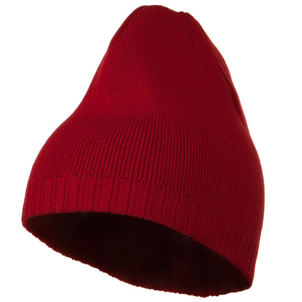 Decorative Ribbed Short Beanie - Red - Hats and Caps Online Shop - Hip Head Gear