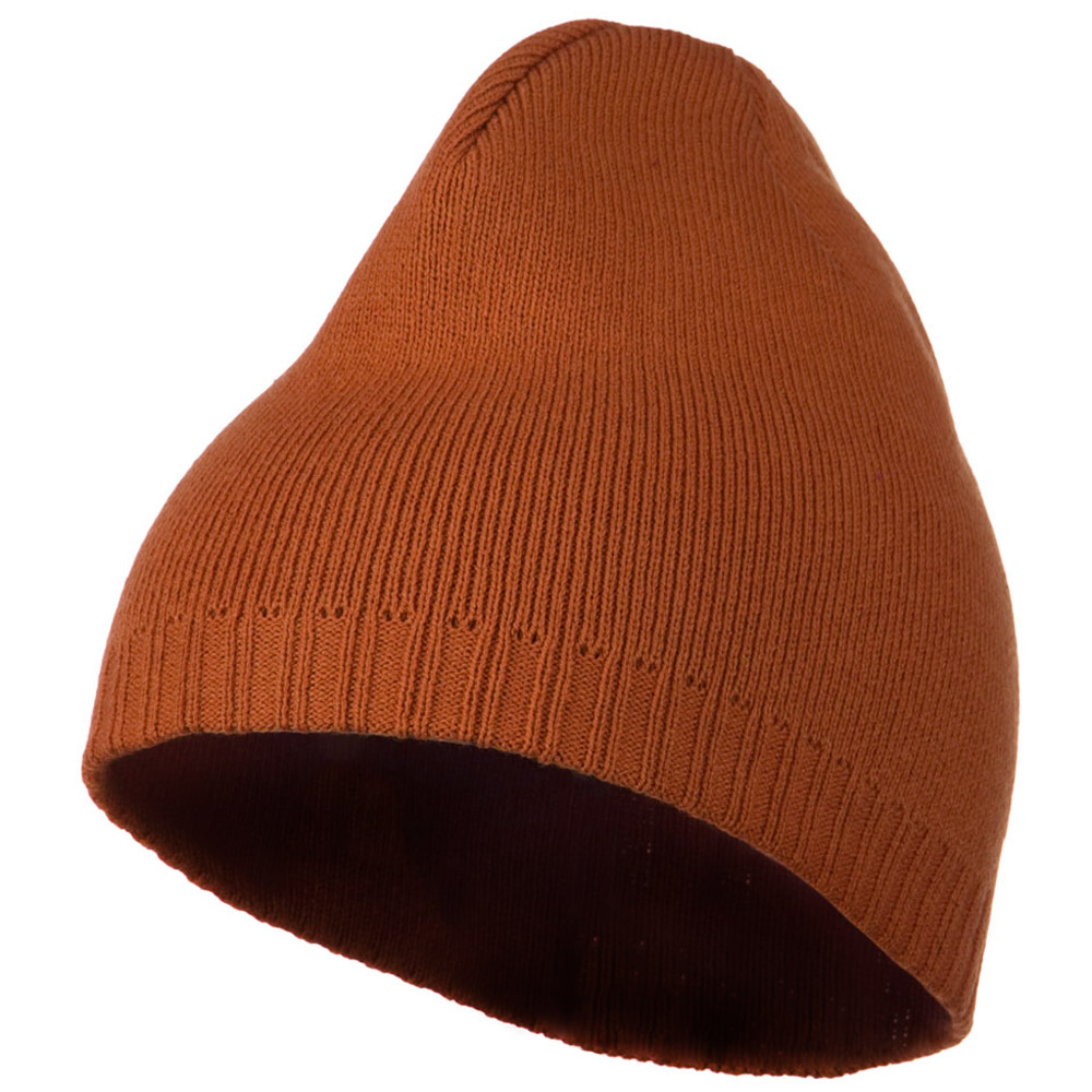 Decorative Ribbed Short Beanie - Orange - Hats and Caps Online Shop - Hip Head Gear