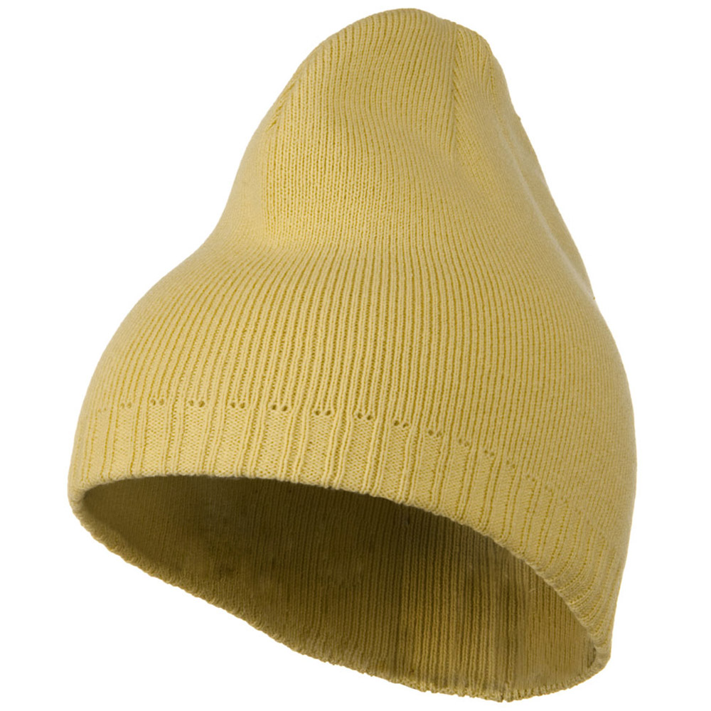 Decorative Ribbed Short Beanie - Vegas Gold - Hats and Caps Online Shop - Hip Head Gear