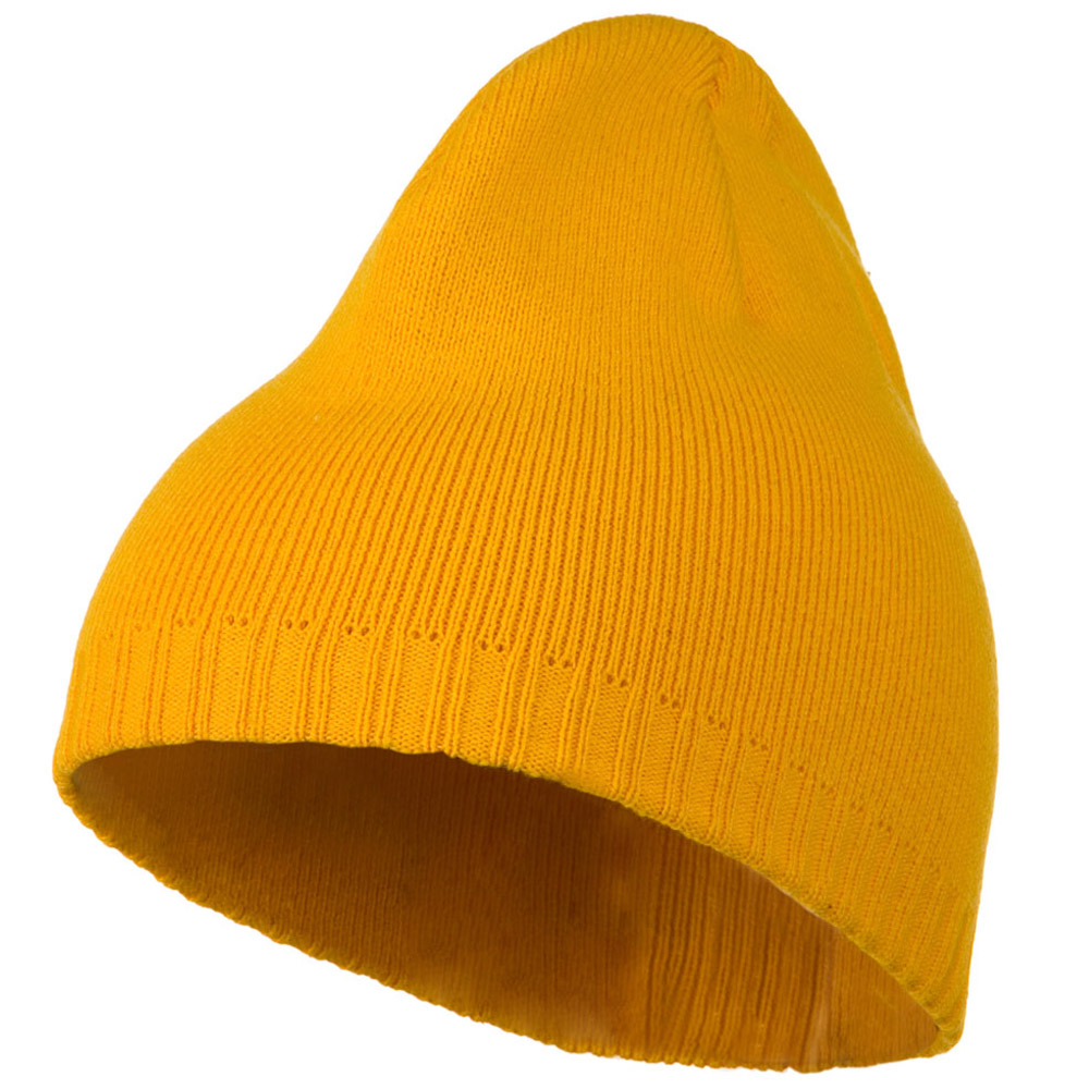 Decorative Ribbed Short Beanie - Gold - Hats and Caps Online Shop - Hip Head Gear