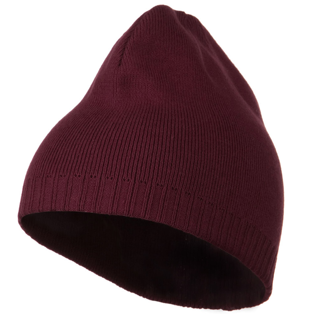 Decorative Ribbed Short Beanie - Maroon - Hats and Caps Online Shop - Hip Head Gear