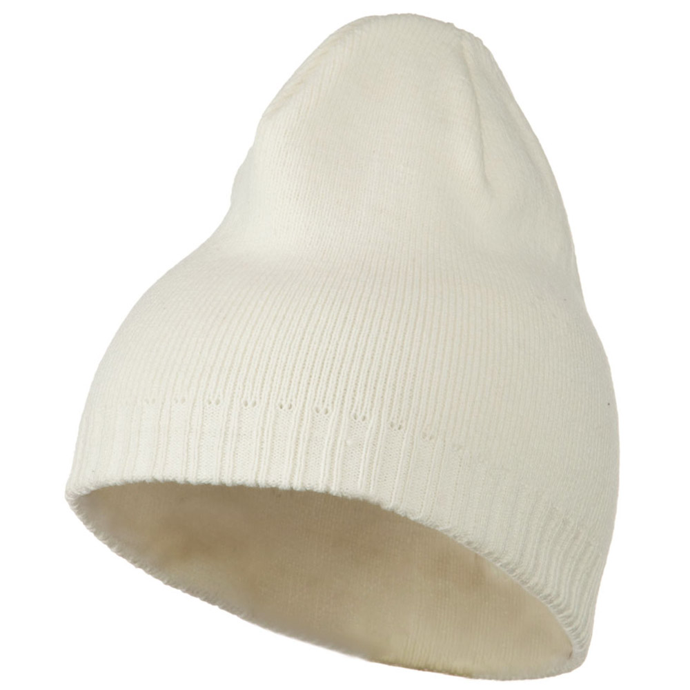 Decorative Ribbed Short Beanie - White - Hats and Caps Online Shop - Hip Head Gear