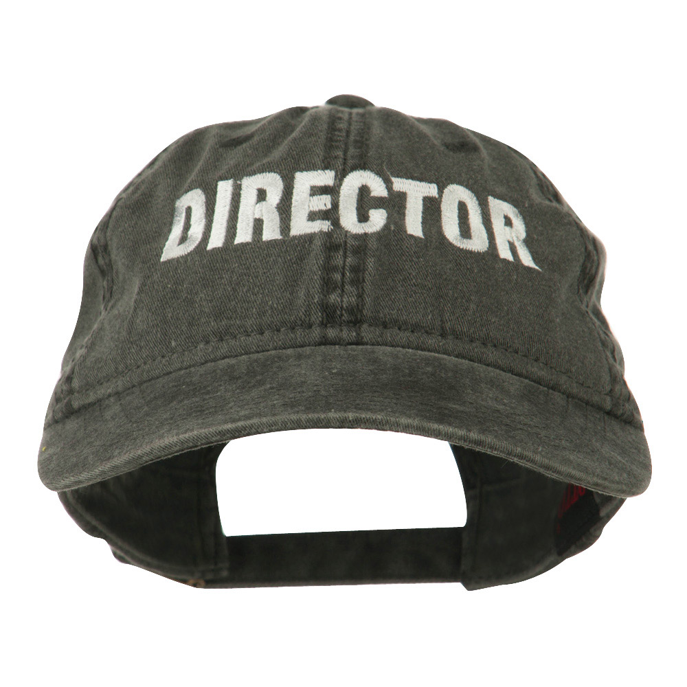 Director Embroidered Washed Cotton Cap - Black