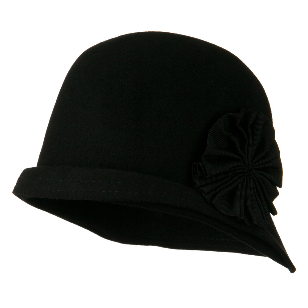 Woman's Cloche Double Stitch Brim Wool Hat - Black - Hats and Caps Online Shop - Hip Head Gear