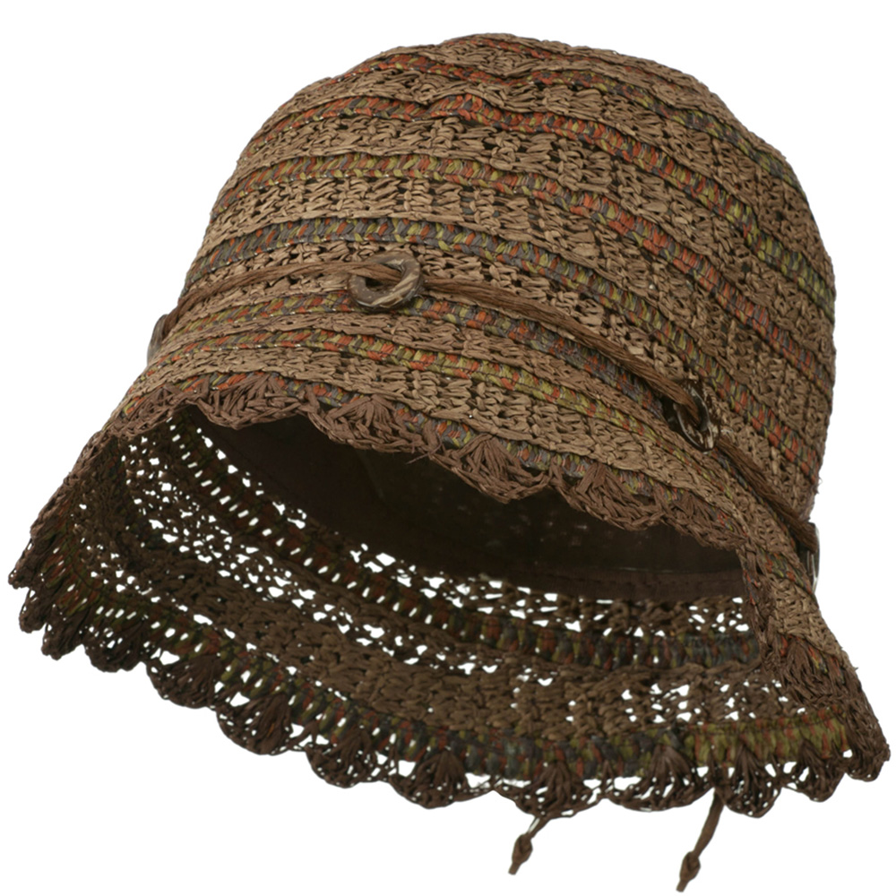 Women's Toyo Cloche Hat with Swirl Detail - Brown - Hats and Caps Online Shop - Hip Head Gear