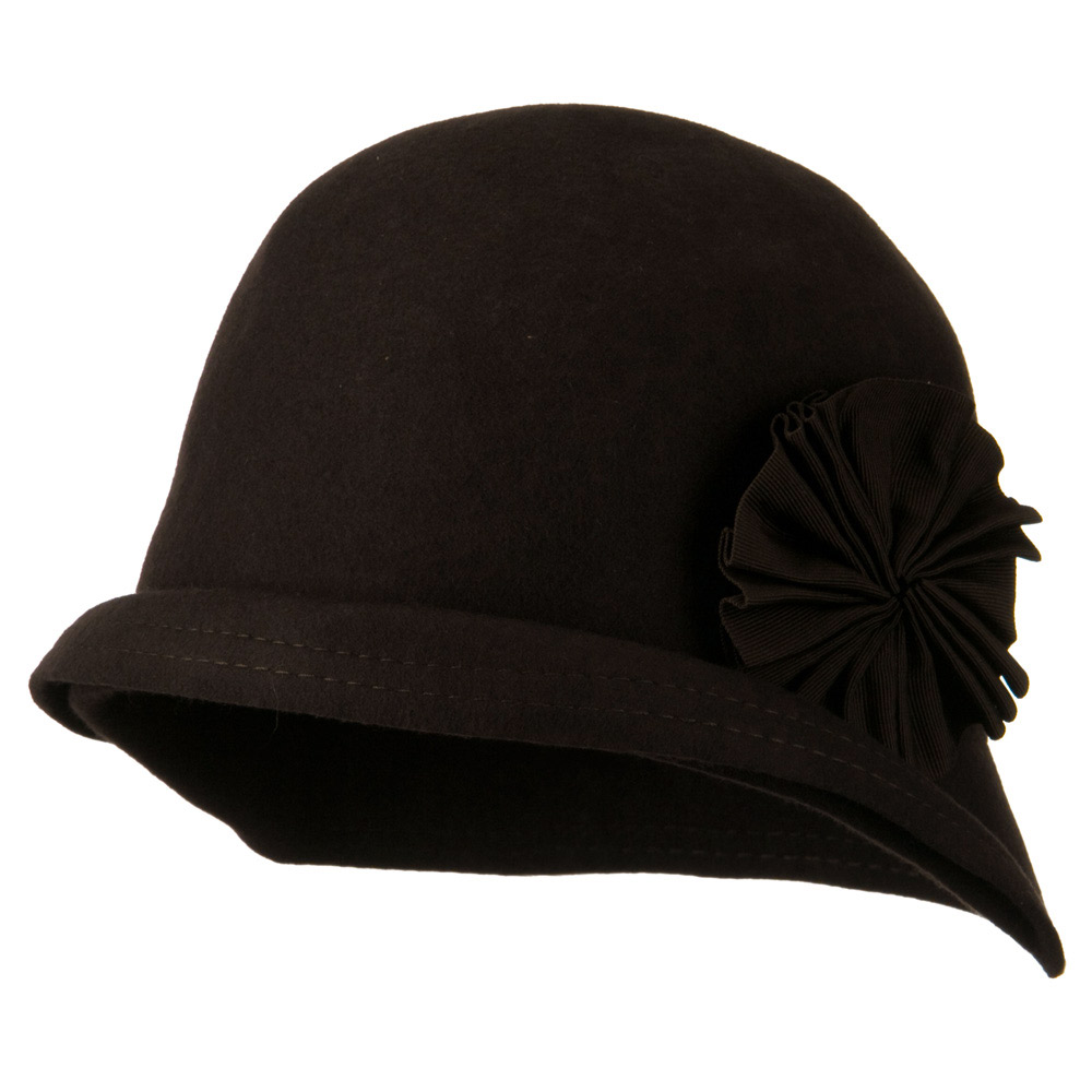 Woman's Cloche Double Stitch Brim Wool Hat - Chocolate - Hats and Caps Online Shop - Hip Head Gear