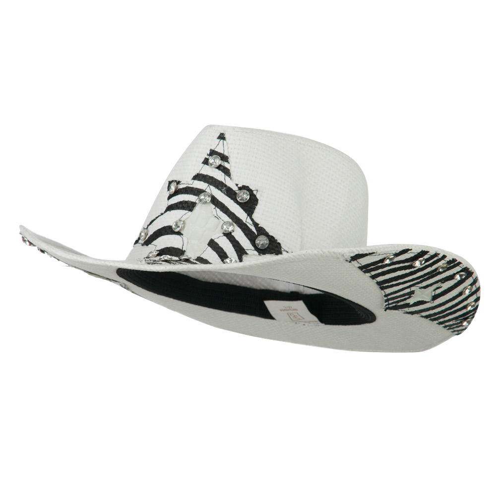 Star Detail Paper Straw Cowboy Hat - Ivory - Hats and Caps Online Shop - Hip Head Gear