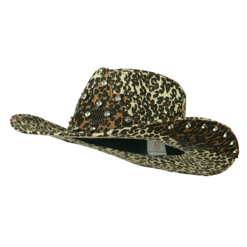 Star Detail Paper Straw Cowboy Hat - Leopard - Hats and Caps Online Shop - Hip Head Gear