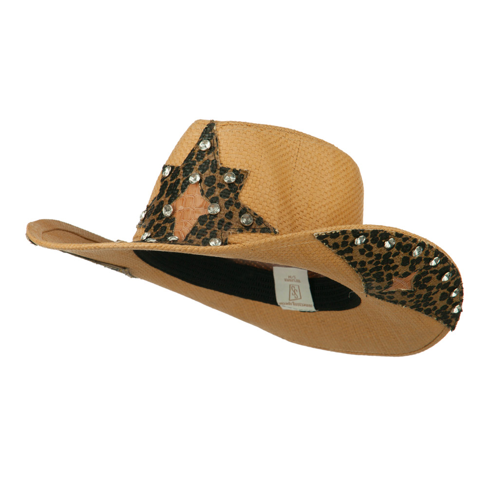 Star Detail Paper Straw Cowboy Hat - Natural - Hats and Caps Online Shop - Hip Head Gear
