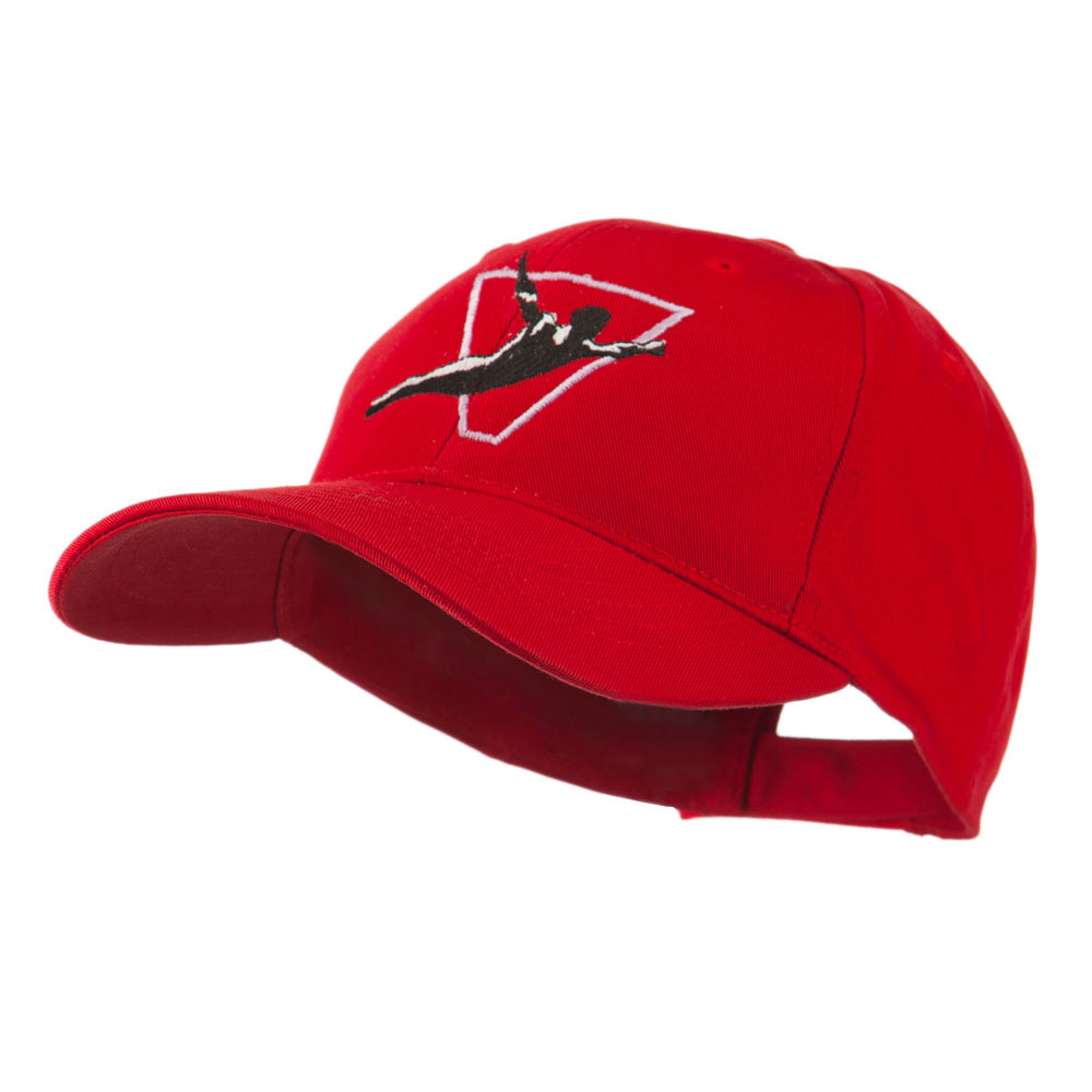 Diving Man Logo Embroidered Cap - Red - Hats and Caps Online Shop - Hip Head Gear
