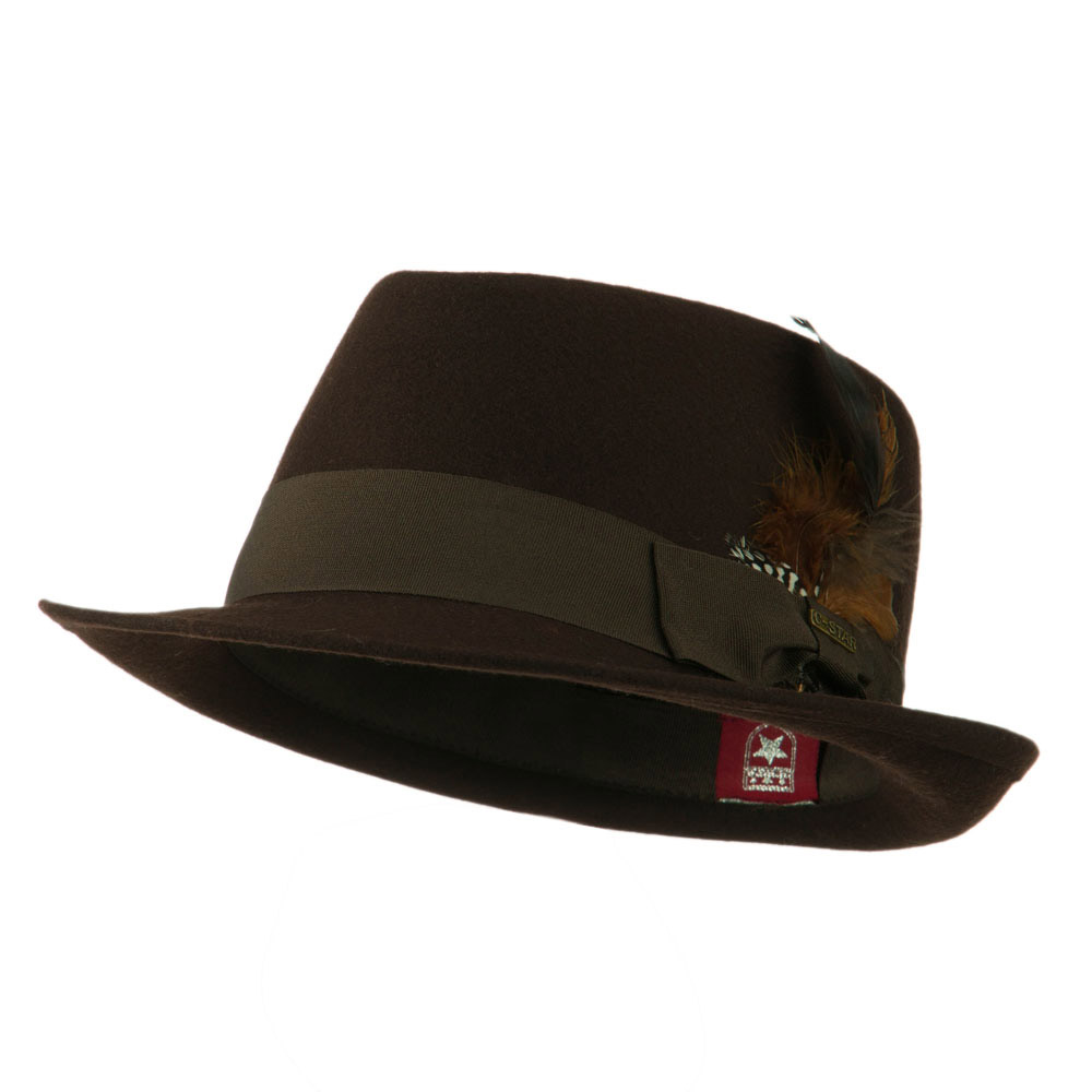 Diamond Wool Feather Fedora - Brown - Hats and Caps Online Shop - Hip Head Gear