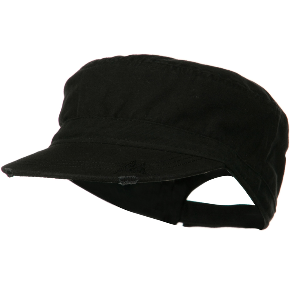 Deluxe Washed Chino Cotton Surplus Cap - Black