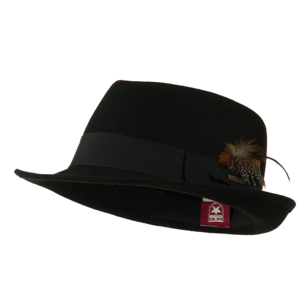 Diamond Wool Feather Fedora - Black - Hats and Caps Online Shop - Hip Head Gear