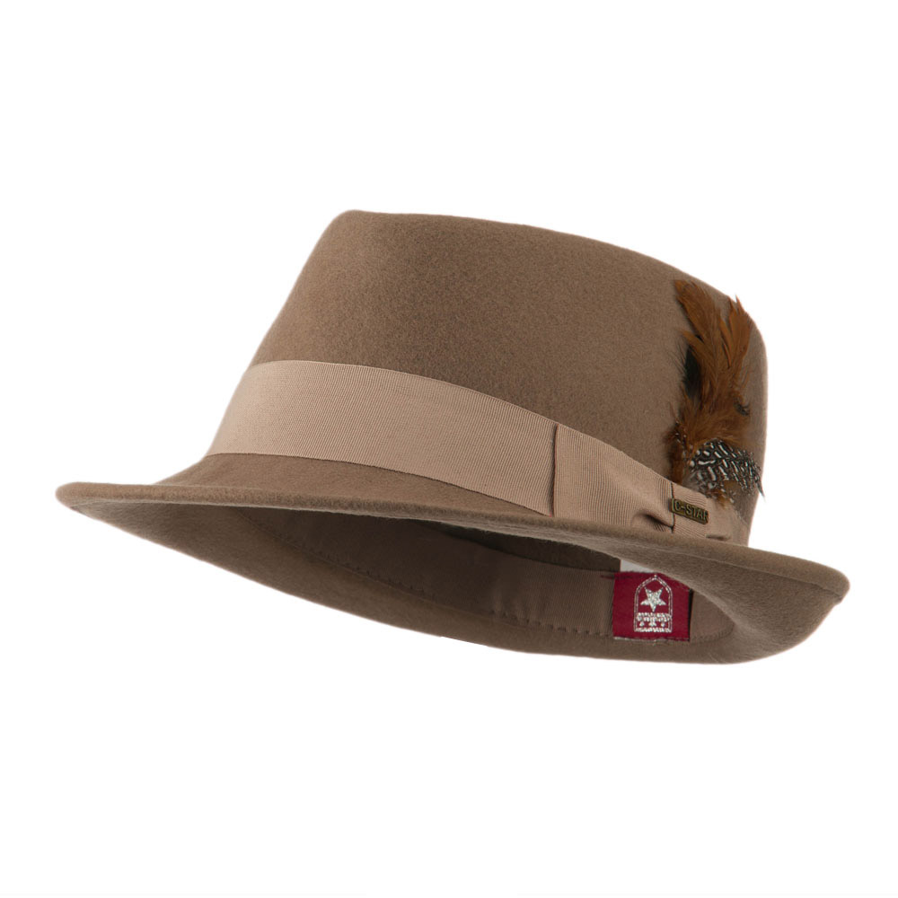 Diamond Wool Feather Fedora - Khaki - Hats and Caps Online Shop - Hip Head Gear