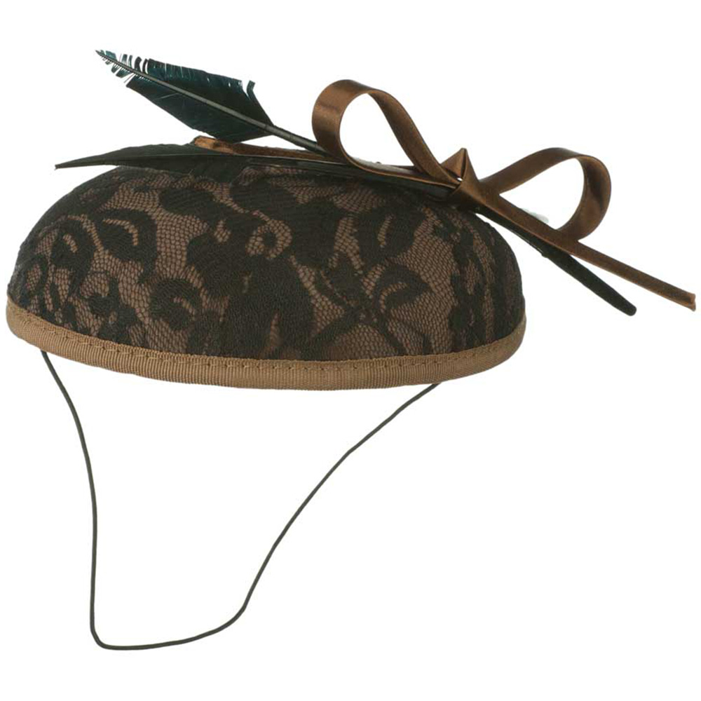 Decorated Wool Felt Cocktail Hat - Bronze Black - Hats and Caps Online Shop - Hip Head Gear
