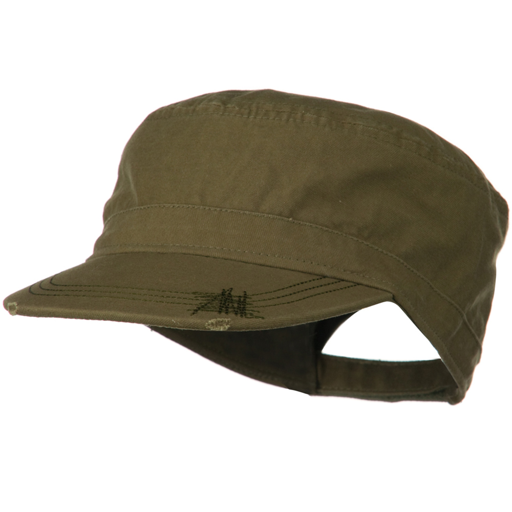 Deluxe Washed Chino Cotton Surplus Cap - Olive