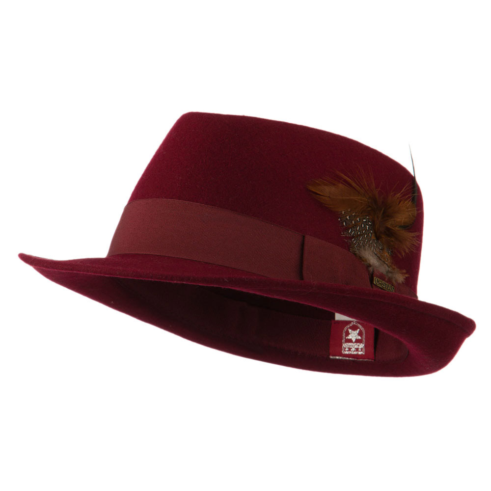 Diamond Wool Feather Fedora - Burgundy - Hats and Caps Online Shop - Hip Head Gear
