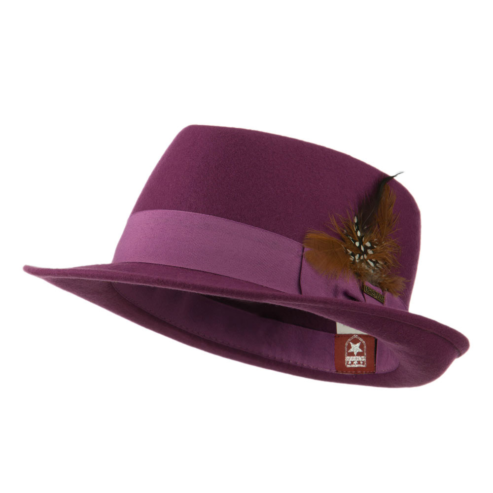 Diamond Wool Feather Fedora - Purple - Hats and Caps Online Shop - Hip Head Gear