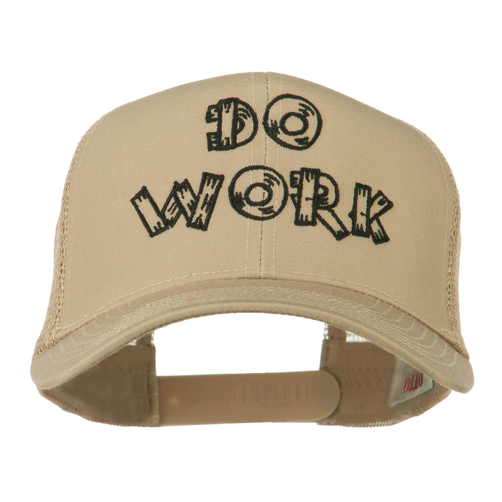Do Work Embroidered Mesh Back Cap - Khaki - Hats and Caps Online Shop - Hip Head Gear