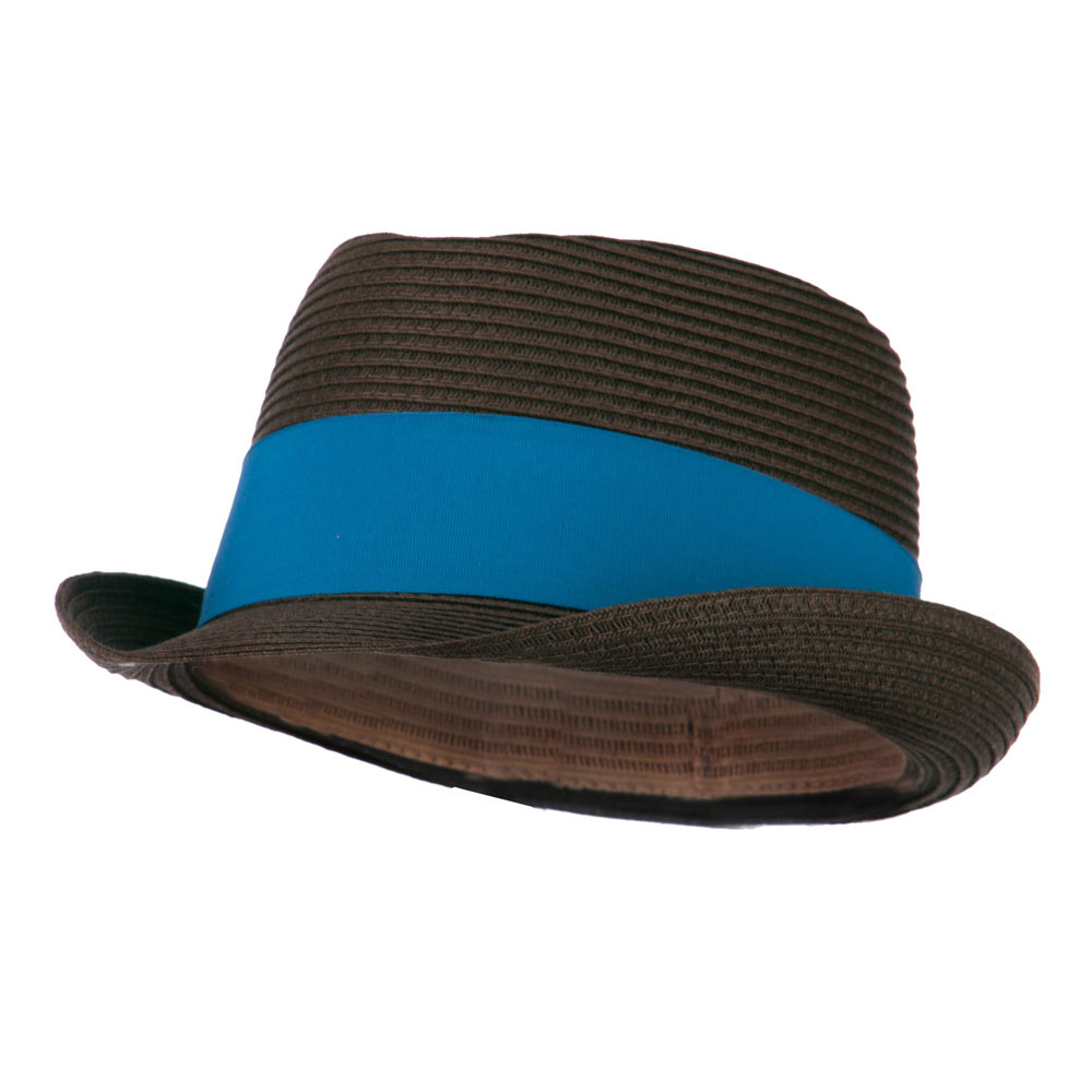Boy's UPF 50+ Ribbon Straw Fedora - Brown - Hats and Caps Online Shop - Hip Head Gear