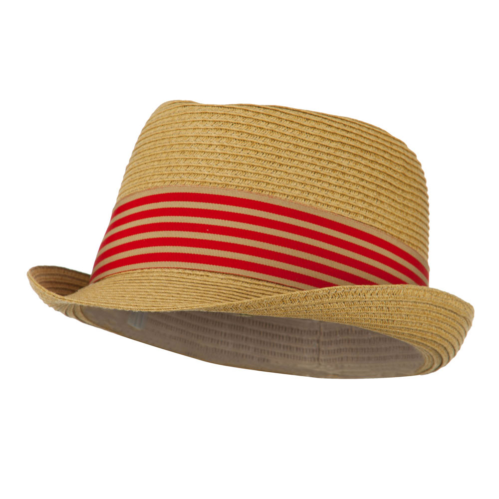 Boy's UPF 50+ Ribbon Straw Fedora - Tan - Hats and Caps Online Shop - Hip Head Gear