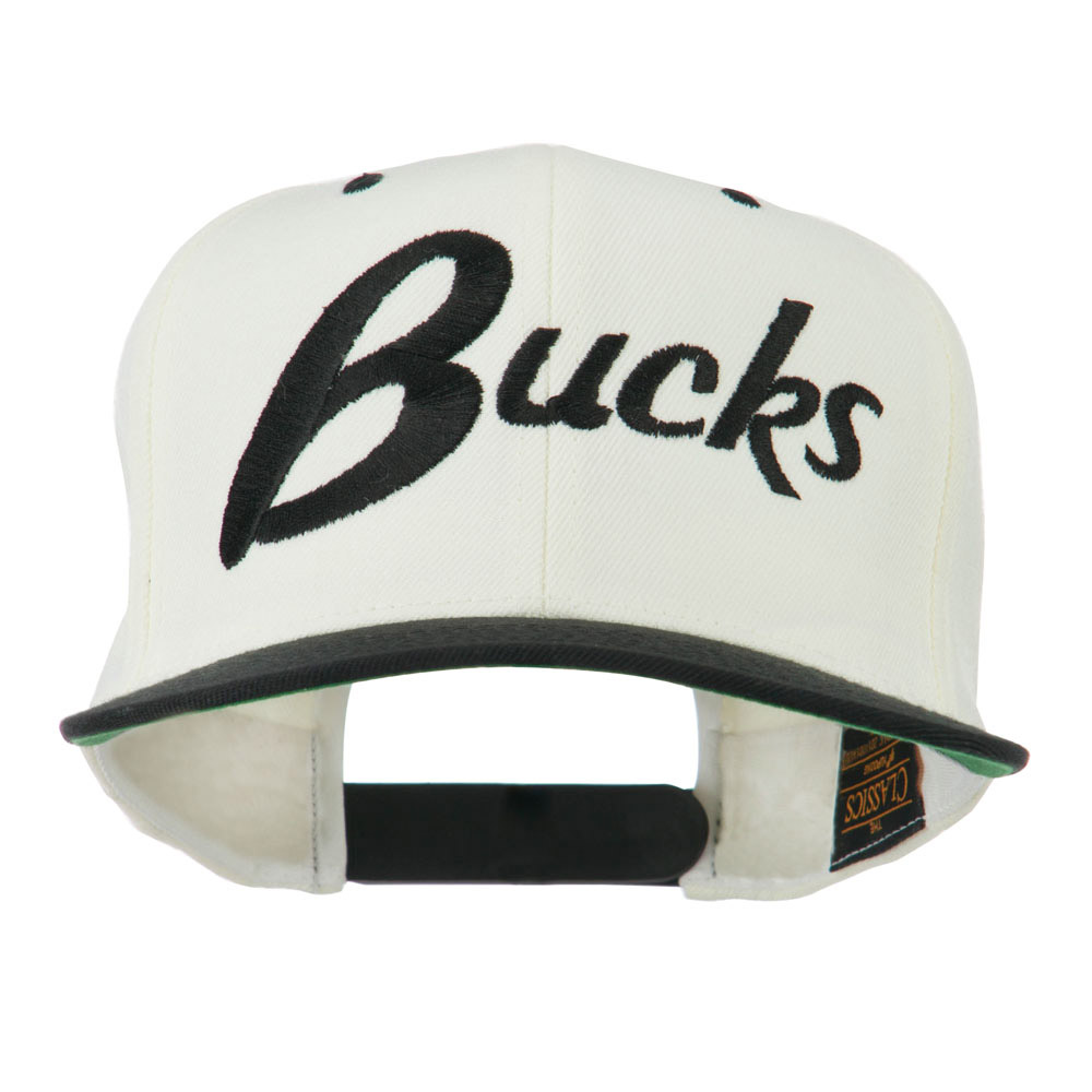 Bucks Embroidered Flat Bill Cap - Natural Black - Hats and Caps Online Shop - Hip Head Gear