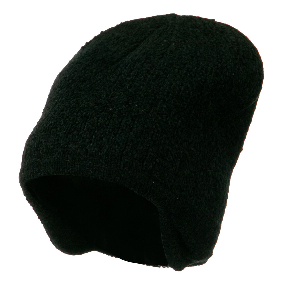 Ear Cover Chenille Short Beanie - Black - Hats and Caps Online Shop - Hip Head Gear