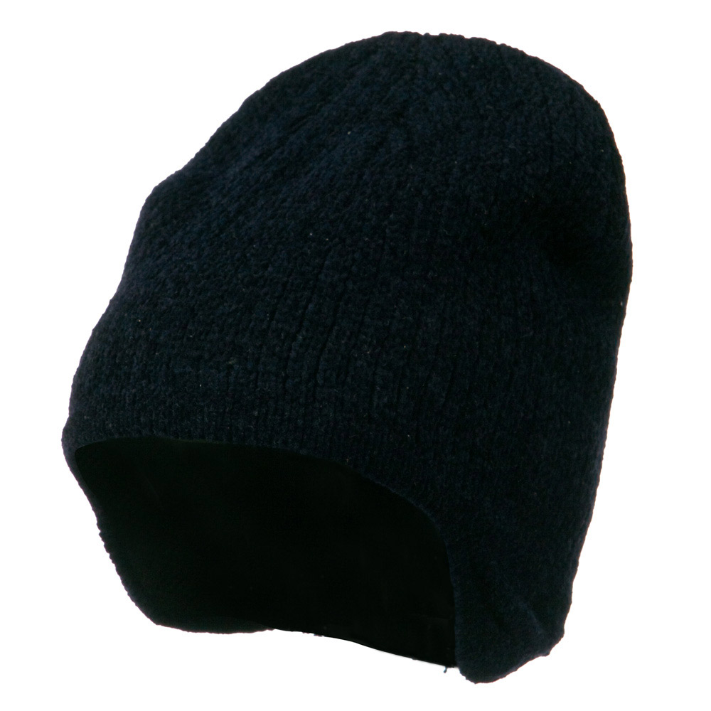 Ear Cover Chenille Short Beanie - Navy - Hats and Caps Online Shop - Hip Head Gear