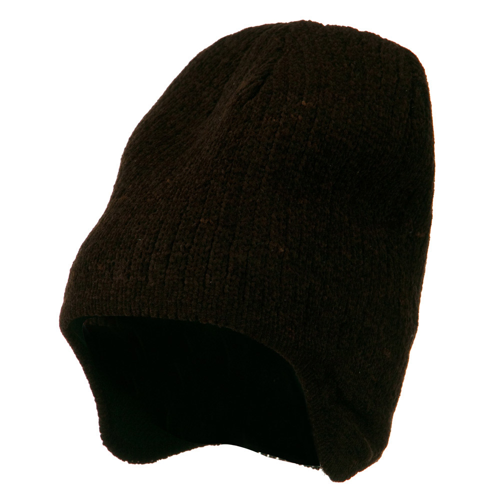 Ear Cover Chenille Short Beanie - Brown - Hats and Caps Online Shop - Hip Head Gear