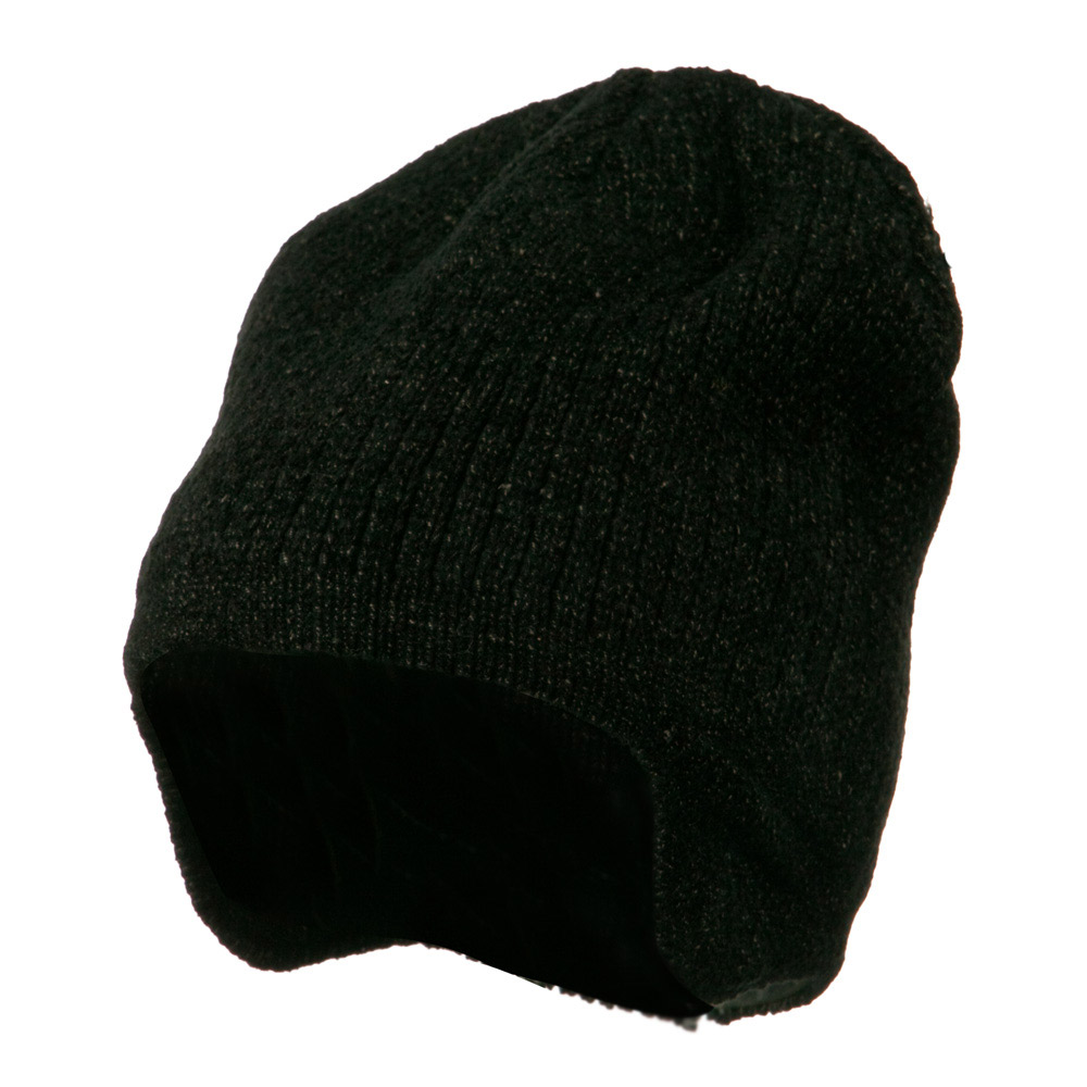 Ear Cover Chenille Short Beanie - Black Tweed - Hats and Caps Online Shop - Hip Head Gear