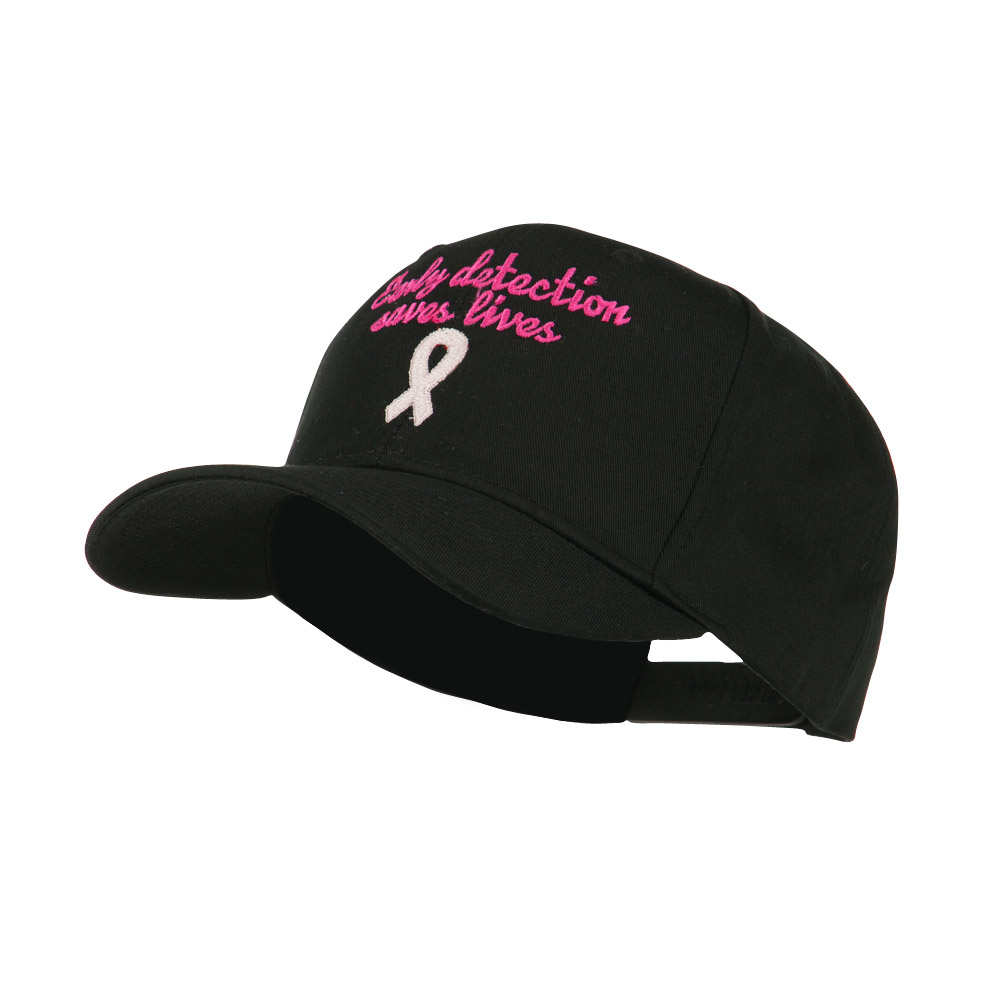 Early Detection Saves Lives Embroidered Cap - Black - Hats and Caps Online Shop - Hip Head Gear