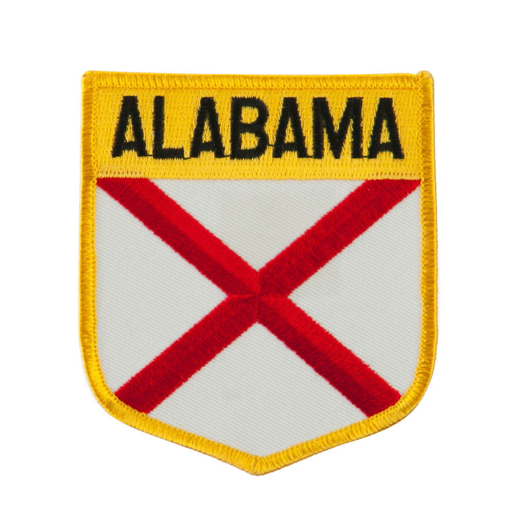 Eastern State Flag Embroidered Patch Shield - Alabama