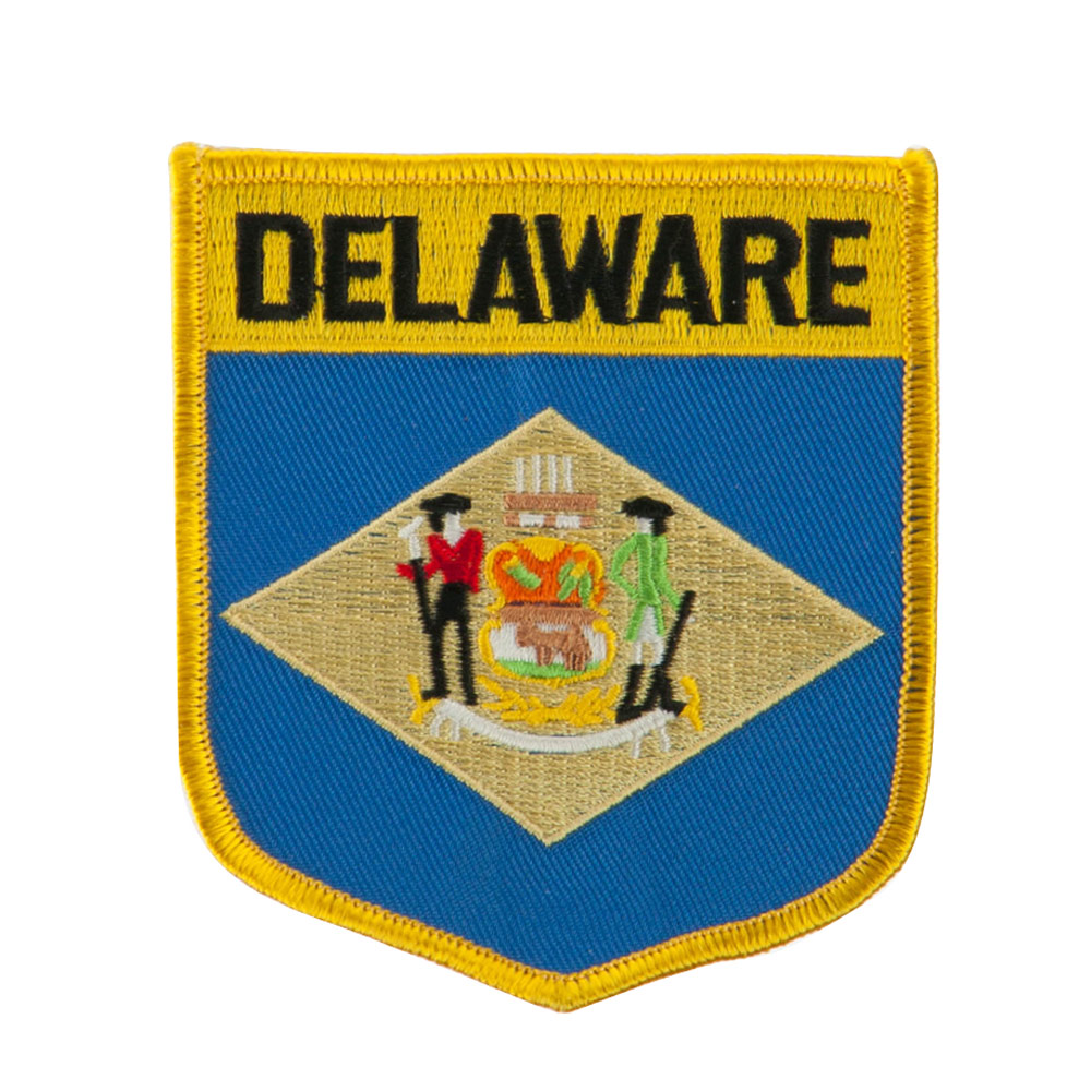Eastern State Flag Embroidered Patch Shield - Delaware