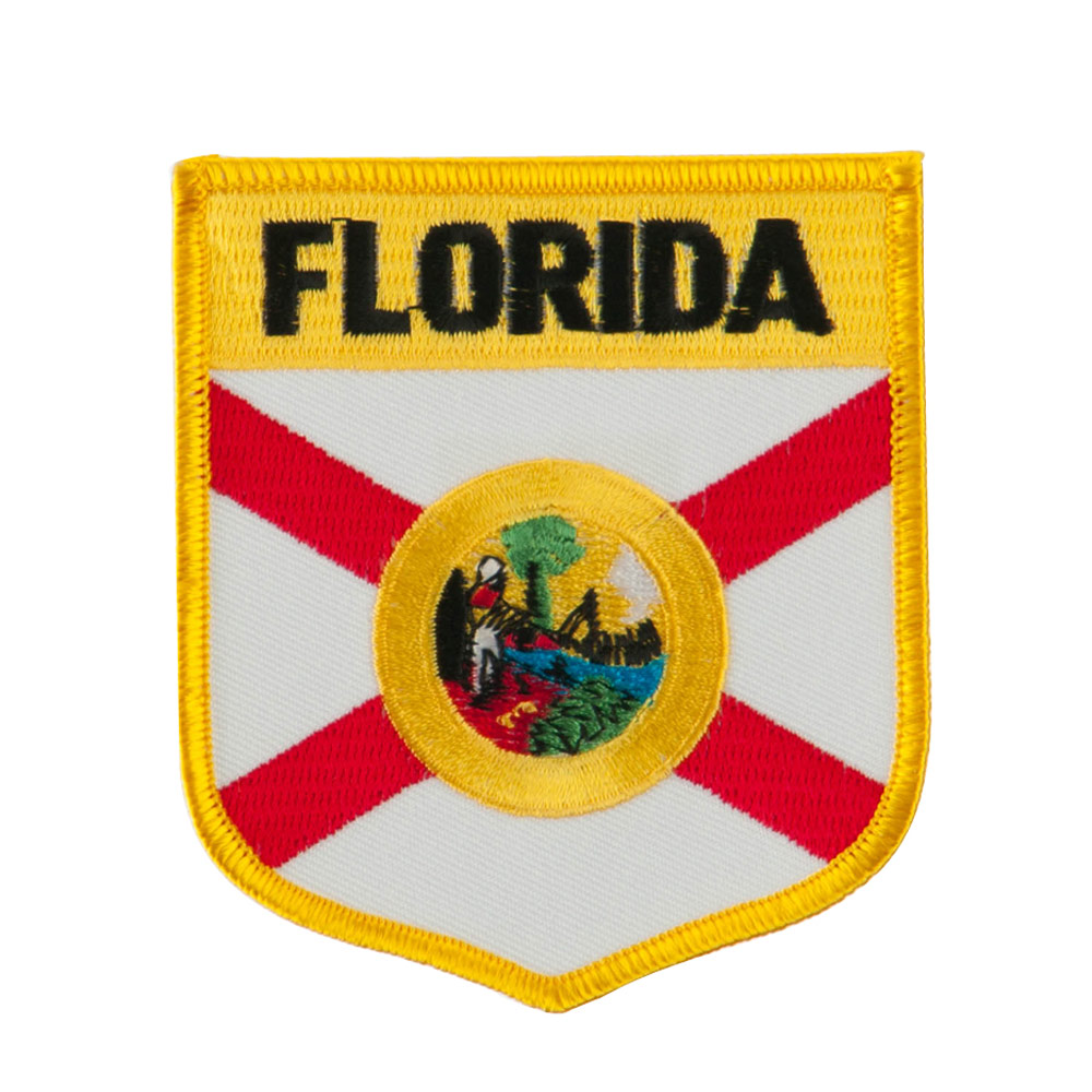 Eastern State Flag Embroidered Patch Shield - Florida
