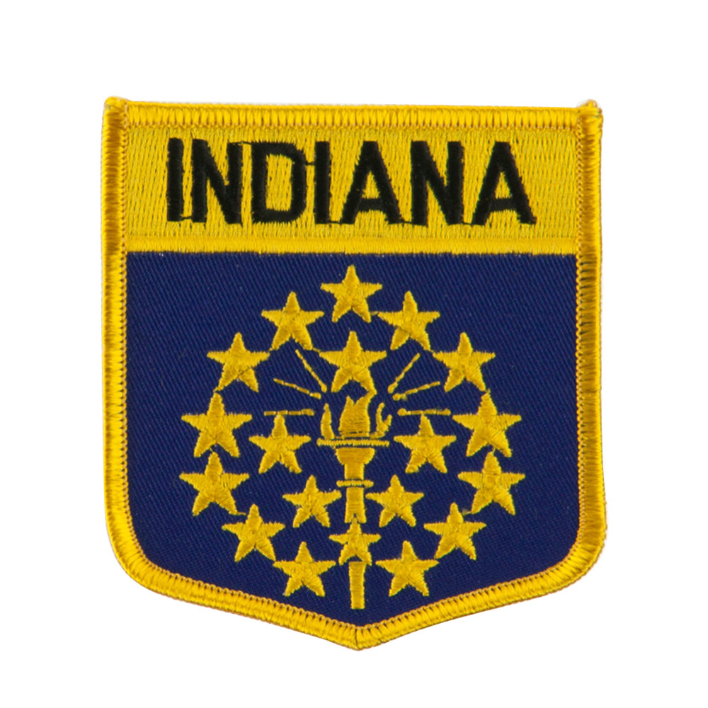 Eastern State Flag Embroidered Patch Shield - Indiana