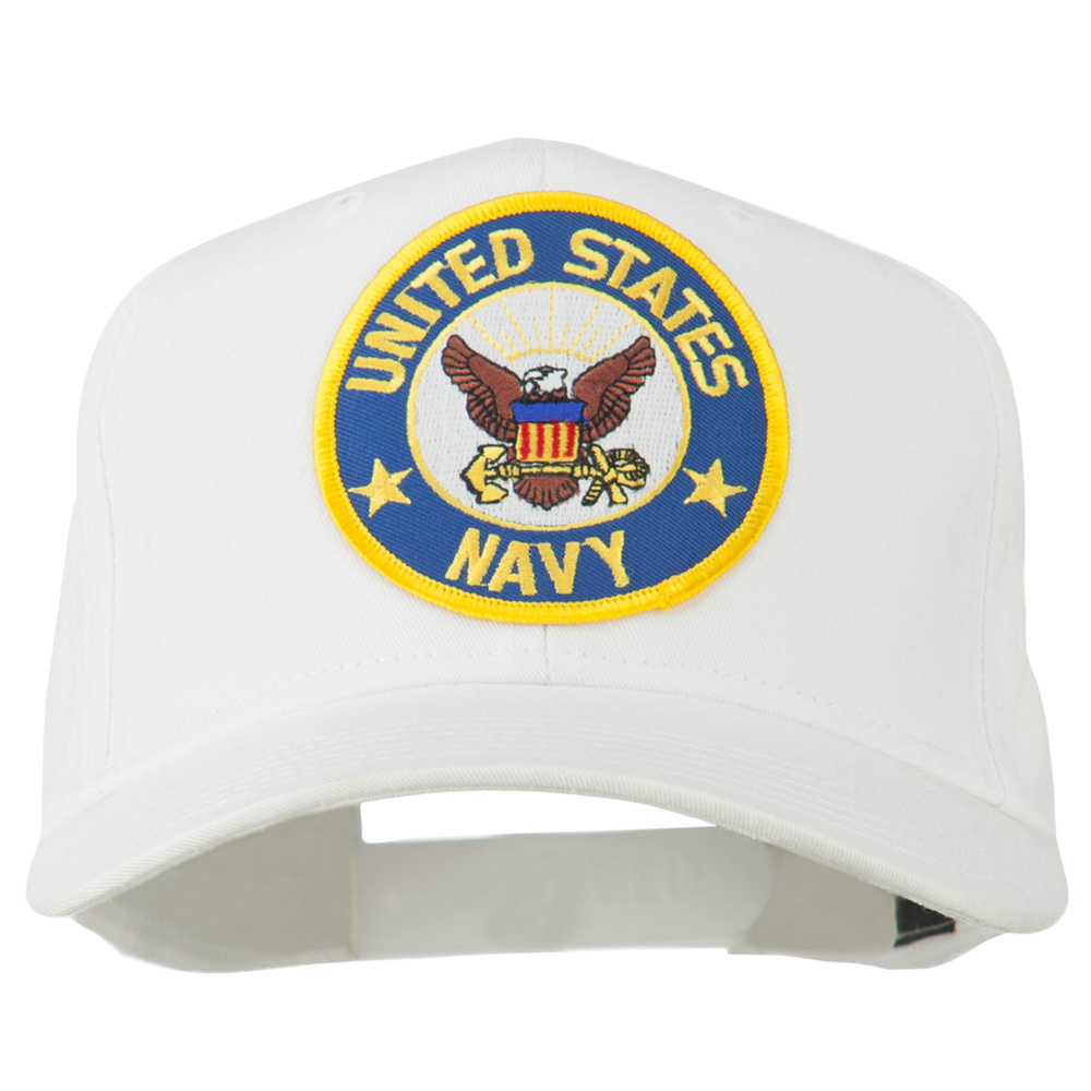 US Navy Eagles Flag Patched Cap - White