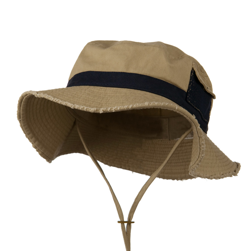Big Size Cotton Twill Washed Bucket Hat - Khaki Navy - Hats and Caps Online Shop - Hip Head Gear