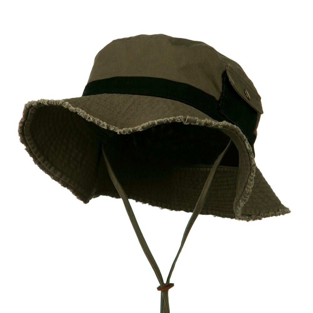 Big Size Cotton Twill Washed Bucket Hat - Dark Olive Black - Hats and Caps Online Shop - Hip Head Gear