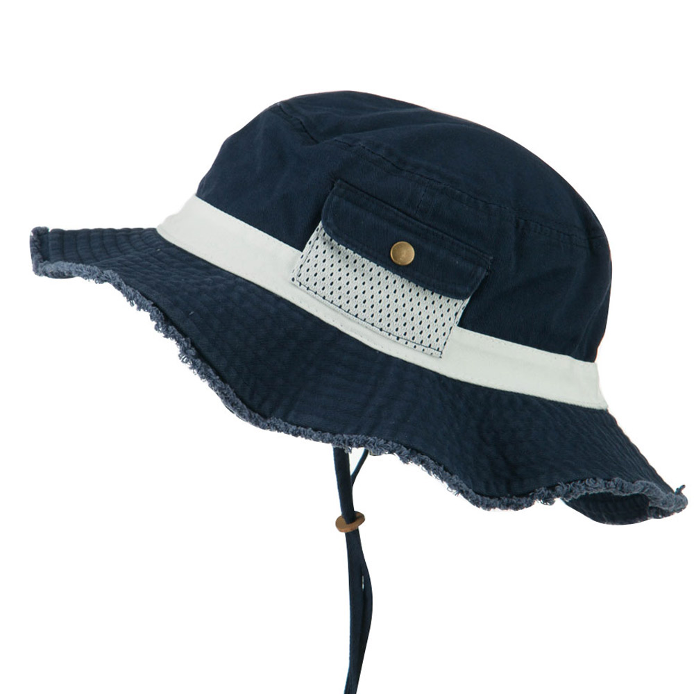 Big Size Cotton Twill Washed Bucket Hat - Navy White - Hats and Caps Online Shop - Hip Head Gear